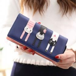 Lovely Long Cat Zipper Phone Wallet Lady Purse Kitten Clutch Bag