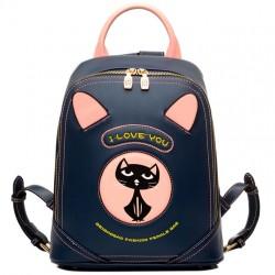 Cartoon PU Cat Women Rucksack Cute Kitten Bag College Backpack