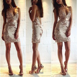 Womens Sexy Deep V Strap Backless Sequins Bodycon Halter Dress