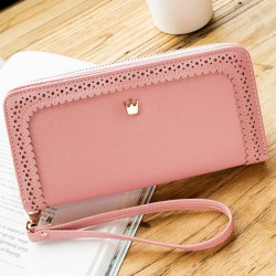 Sweet Girl's PU Hollow Dents Crown Lace Purse Card Wallet Clutch Bag