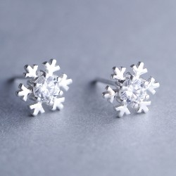 Fashion Silver Diamond-bordered Snowflake Cute Shining Winter Women's Earring Studs