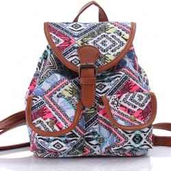 Folk Irregular Pattern Floral Prints Women Rucksack Totem School Backpack