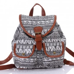 Unique Totem Floral Prints Women Rucksack Folk Irregular Canvas College Backpack