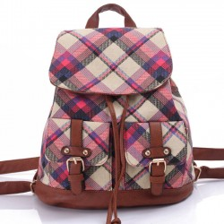 Leisure British Quilted Women Rucksack Lattice Travel Canvas College Backpack