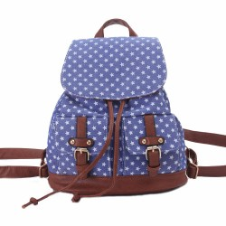 Vintage Star Printing Blue Canvas Schoolbag Backpack Travel Backpack