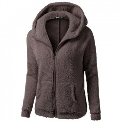 Pure Color Pullover Warm Hooded Sweatshirt Winter Lambswool Zipper Outwear Hoodies Fluff Coat
