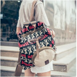 Vintage Handsome Man Avatar Printing Backpack Shoulder Bag Schoolbag