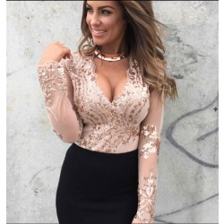 Women's Deep V Neck Flower Sequins Long Sleeve Blouse