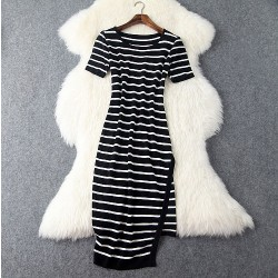 New Women Slim Irregular Black And White Stripes Dress &Party Dress