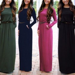 Simple Style Round Neck Maxi Pocket Slim Waist Long Sleeve Dress With Belt