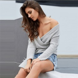 Fashion Apparel Women's V Neck Off Shoulder Knitted Wrap Sweater Pullover