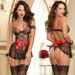 Sexy Women's Cosplay See Through Lace Splicing Silk Bowknot Black Splicing Red Backless Dress Underwear Sleepwear Lingerie