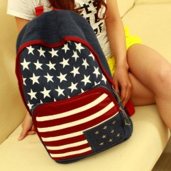 Fashion American Flag Rivet Canvas Backpack