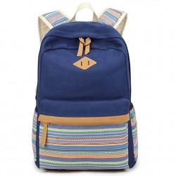 Folk Colorful Stripes Designed Student Bag Leisure Travel Canvas School Backpack