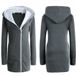 Fashion Women's Winter Long Zipper Warm Hoodie Coat Slim Coat Outwear Jacket Thicken Cotton-padded Jacket Coat