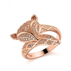 Rose Gold Romantic Fox Lover Silver Animal Diamond Open Ring