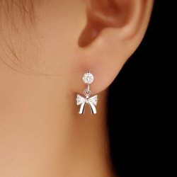 Cute Crystal Bow Silver Earrings Studs