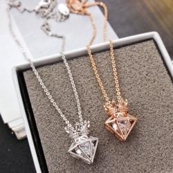 New Rose Gold Short Chain Zircon Crown Diamond Pendant Necklace