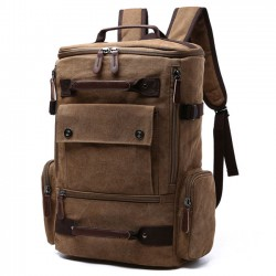 Retro Washing Color School Backpack Travel Outdoor Backpack Large Capacity Boy's Cavnas Zipper Backpack