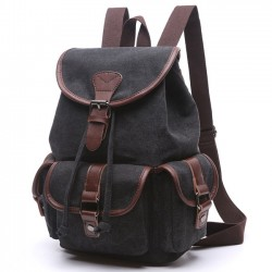 Retro Draw String Flap School Bag Belt Metal Lock Large Canvas Travel Backpacks