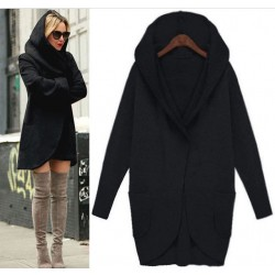 Pure Solid Color Jacket Pocket Long-sleeved Loose Wool Jacket Coat