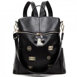 Retro Black Metal Badges Square Multifunction Shoulder Bag Girl's PU School Backpack