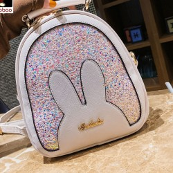 Lovely Ear Sequin Multifunction Shoulder Bag PU Cartoon Rabbit Women Backpack