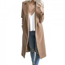 Women's Fall Long-style New Woolen Coat Wide Lapel Whole Color Wool Simple Style Overcoat