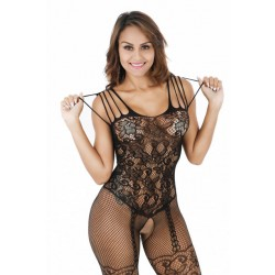 Sexy Cupless Jacquard Bodystocking Open Cup Bras Conjoined Net Lingerie Set