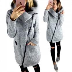 Casual Solid Hoodies Sweatshirts Women Zipper Tops Jackets Long Sleeves Coat