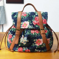 Folk Flower Small Drawstring National Bag Retro Leisure  Backpacks