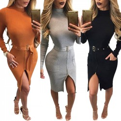 Long Sleeves Turtleneck Tight Split Splicing Bodycon Dresses With Belt