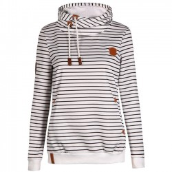 Autumn Winter Women's Casual Striped Hoodie Pullover Sweater Cashmere Wool Sports Overcoat