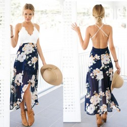 Slip Lace Splicing Backless Printing Chiffon Dress Women's V-neck Floral Skirt