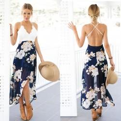 Slip Lace Splicing Backless Printing Chiffon Dress Women's V-neck Floral Skirt