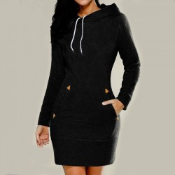 New Long-Sleeved High-Necked Solid Women Sweater Hooded Dresses