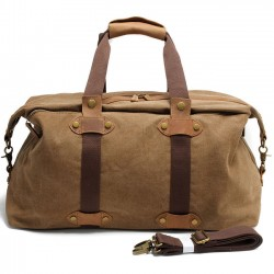 Retro Large Capacity Luggage Bag Splicing Leather Zipper Belt Handbag Canvas Shoulder Bag