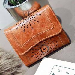 14787f91ac4 Retro Oil Wax Short Purse Hollow-Out Flower Clutch Bag Women's Wallet