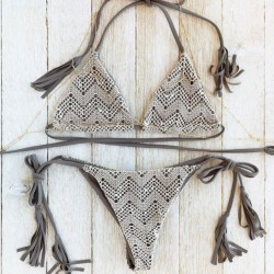 Gray Lace Split Printed Bikini Tassels Swimsuit Bathingsuit
