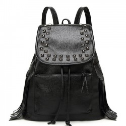 Casual Women Black Rivets Waterproof PU Tassel Leather College Backpack