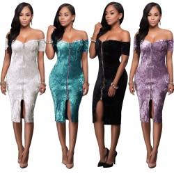 Sexy Diamond Velvet Collar Zipper Boat Neck Bandage Dress Nightclub Skirt