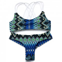 New Sexy Folk Peacock Printing 3 Sling Bikinis Swimsuit