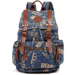 Retro Outdoor Backpacks Climbing Rucksack Large PU Belt Canvas School Backpack