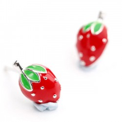Cute Strawberry Girl 925 Silver Earring Studs
