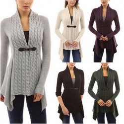Fashion Women's V-neck Lace-up Knitted Irregular Lower Hem Long Sleeves Cardigan