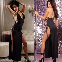 Sexy Black Side Tied Long Dress Robe Women Lingerie
