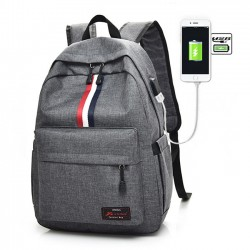 Leisure Red White Black Stripe USB Interface Large Travel Bag Student Bag Canvas Backpack