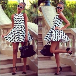 Graphic Wave Stripe ZigZag Skater Dress