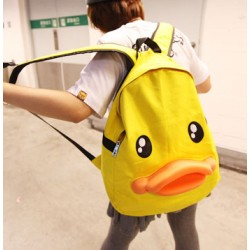 Funny Cute Yellow Duck Canvas Backpack