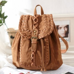 Fashion Original Weave Braid Brown Backpack